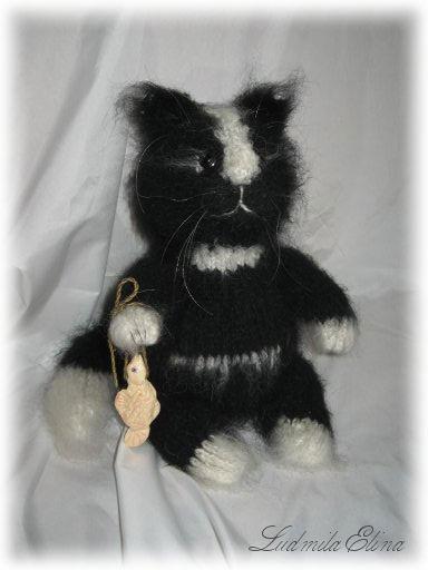 Вязаный чёрный кот, галерея - продажа вязаной игрушки.