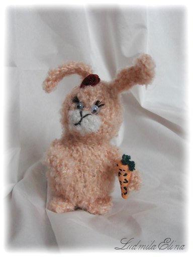 elina toys,вязаная игрушка зая амигуруми, handmadetoys.