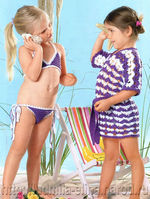 вязание крючком, детский купальник, бикини, туника, схема