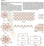 Лиф купальника + сетка с цветочками крючком, схема