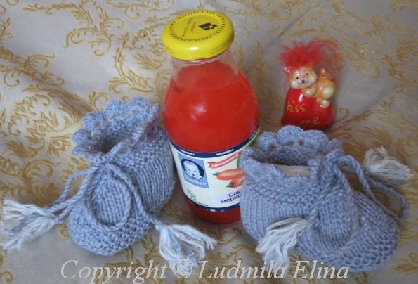 вязание спицами, пинетки для
