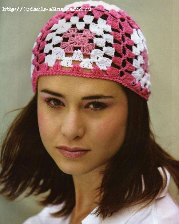 Цветная шапочка на лето из