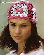 цветная шапочка на лето крючком, схема