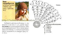 Летняя ажурная шапочка, вязание крючком, для начинающих вязальщиц, несложная модель, схема