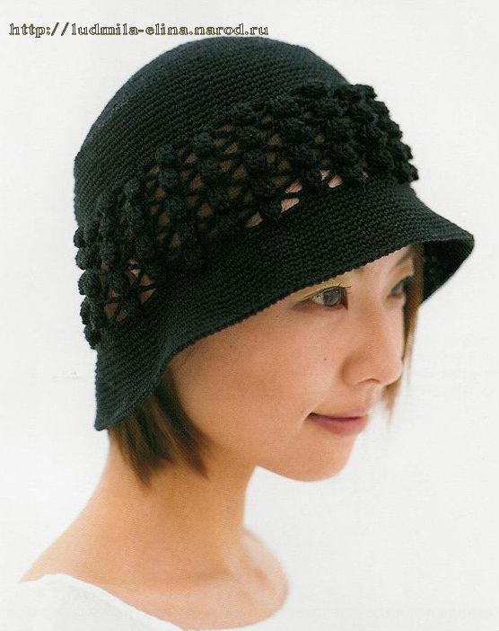 черная шляпка-панамка, вязание