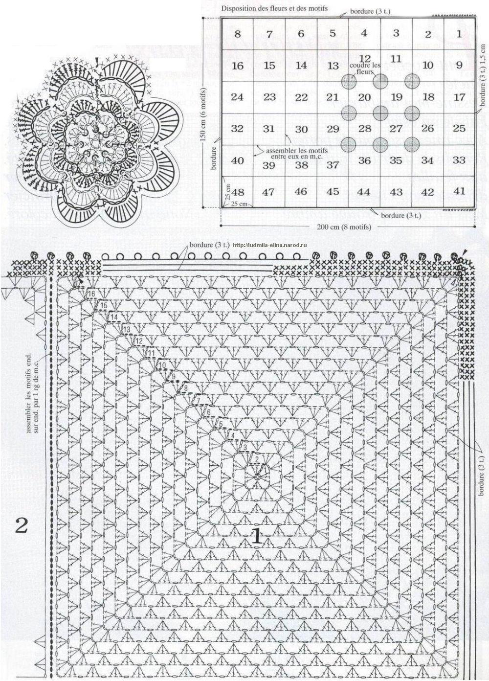Схема вязания ажурного пледа для новорожденных крючком 43