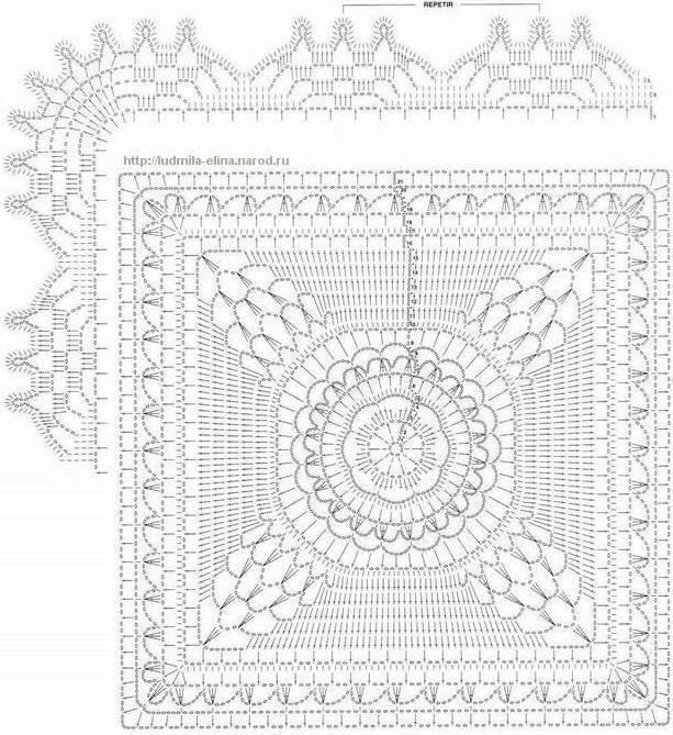 方形图案的钩针床罩 - maomao - 我随心动