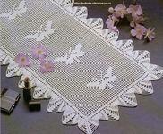 салфетка прямоугольная с бабочками крючком, схема
