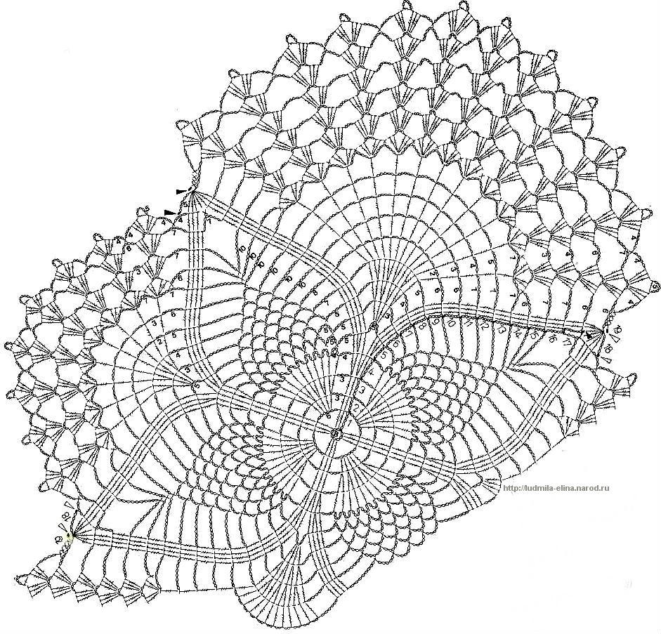 схема скатерти крючком с описанием