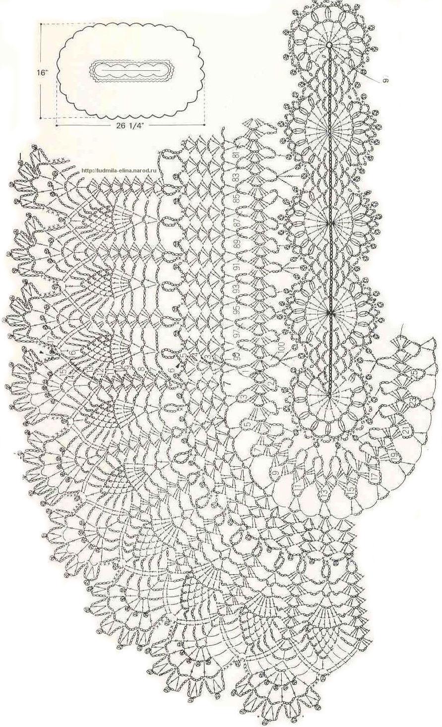 Салфетки овальные - Вязание крючком.