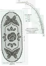 Салфетка бабочки  роза крючком, схема