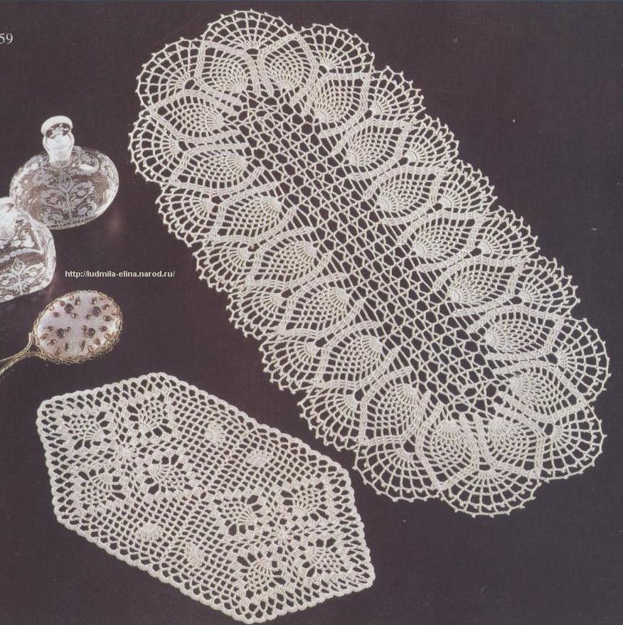 Вязание крючком салфетки овальны