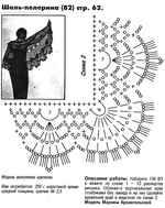 шаль-пелерина ажурная крючком, схема