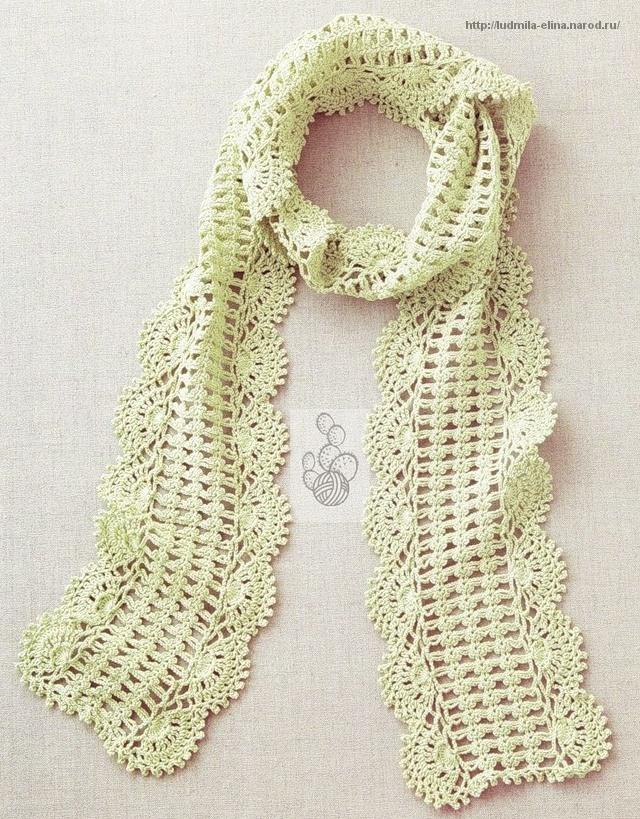 Ажурный шарфик с узорной