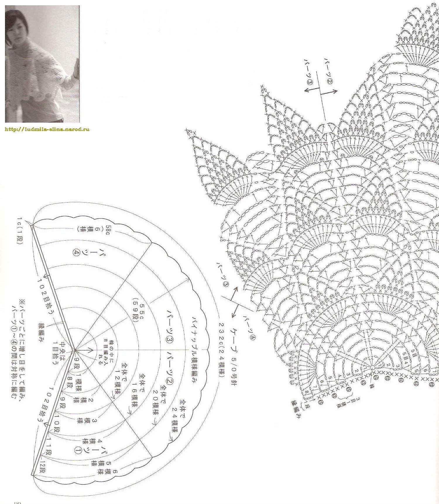 пелерины вязaные спицaми схемы