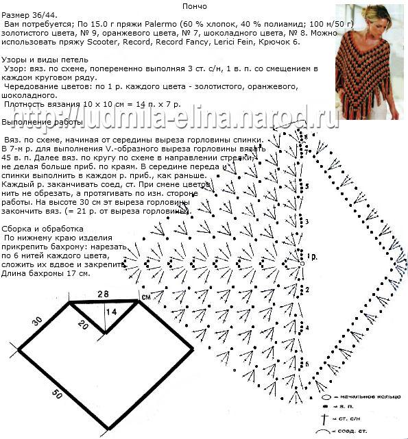 Как вязать пончо крючком схемы с описанием