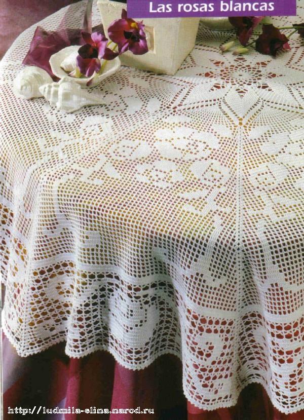 схемы вязания крючком ажурных салфеток и скатертей