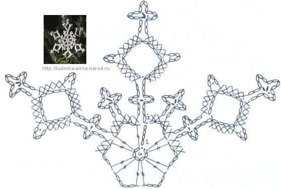 крючком, снежинка, схема
