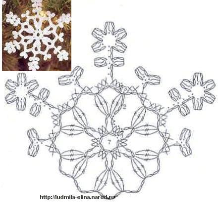 вязание крючком, снежинка