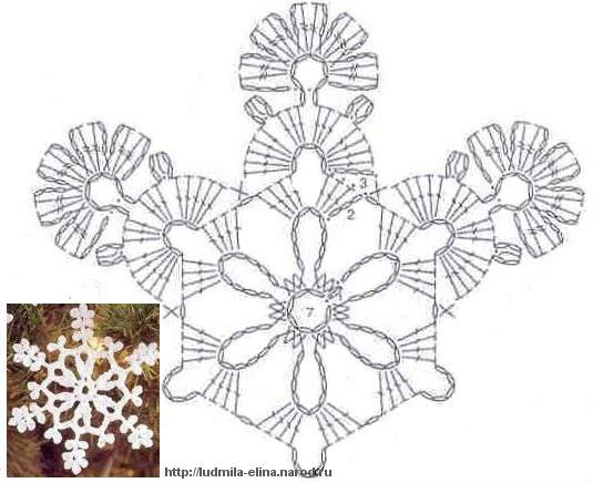 вязание крючком, снежинка, схема