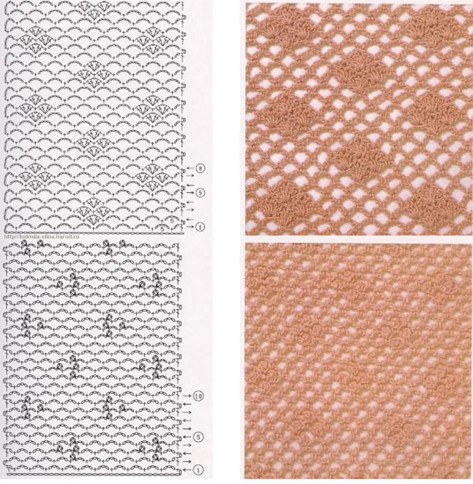 узоры резинок со схемами вязания