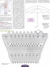 белый ажурный зонтик крючком, схема узора
