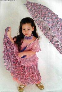 пестрый зонтик юбочка крючком для девочки, схема