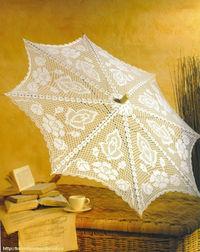 ажурный зонтик с розами крючком, схема.