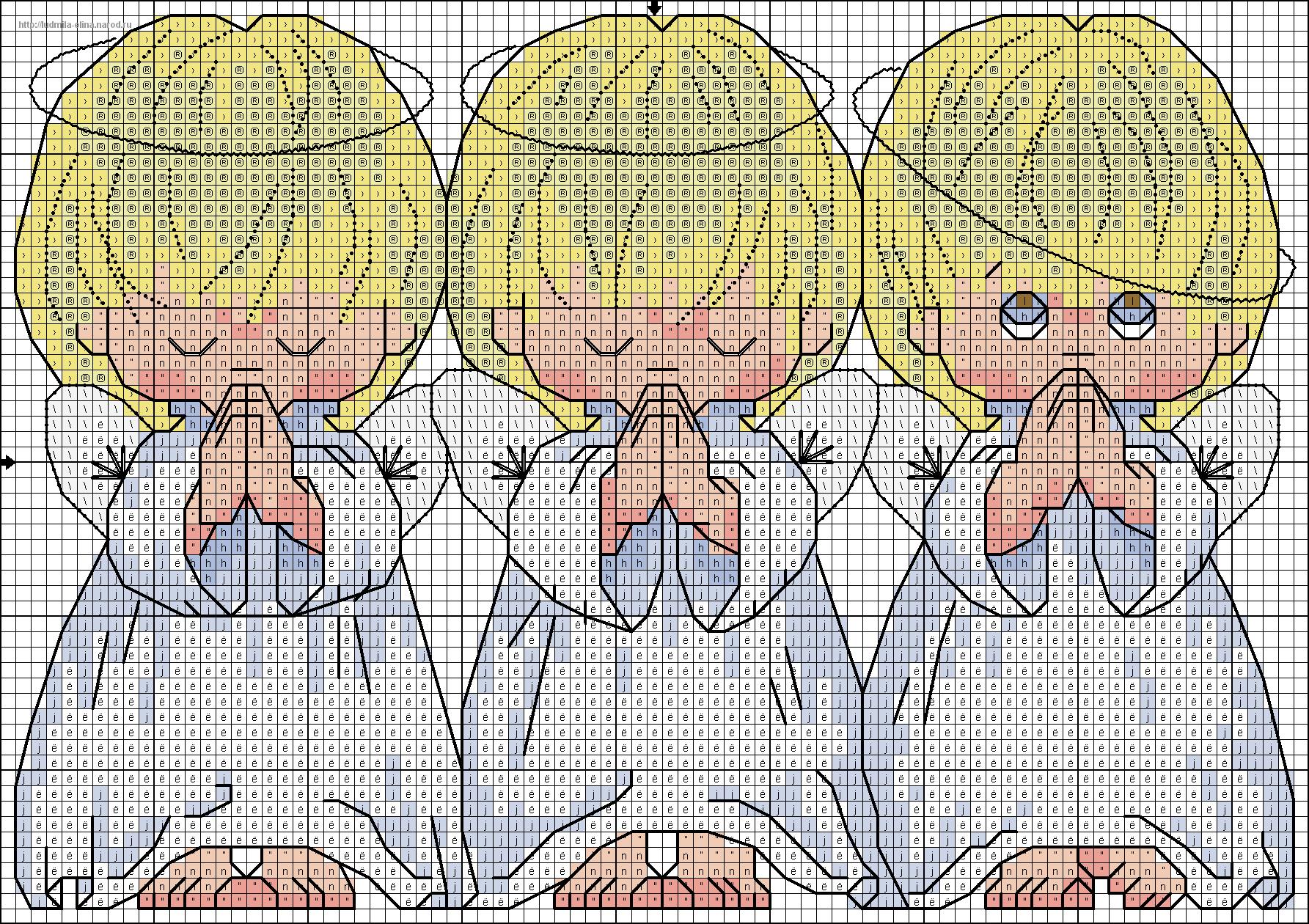 2 ангела схема вышивки
