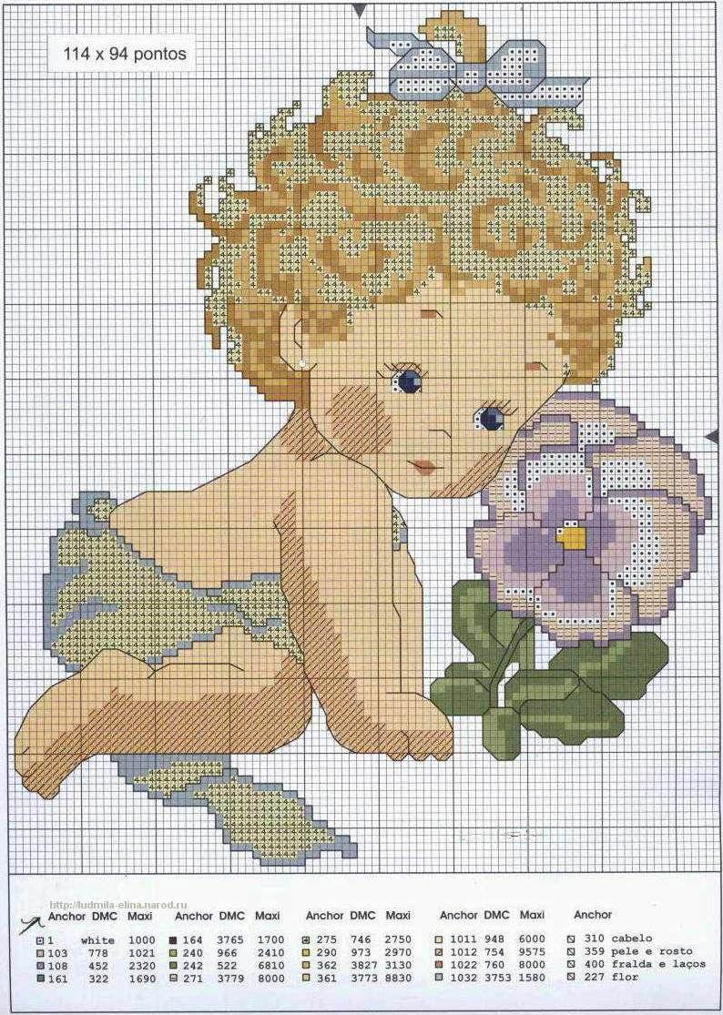 Схема для вышивки ребенок в цветке