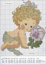 вышивка девочка с цветком, схема