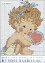 вышивка девочка с сердцем, схема
