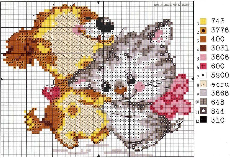 щенок и котенок, схема