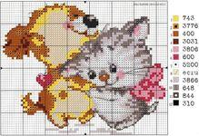 вышивка щенок и котенок, схема