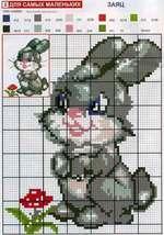 вышивка заяц, схема
