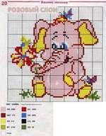 вышивка розовый слон, схема