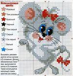 вышивка мышка, схема