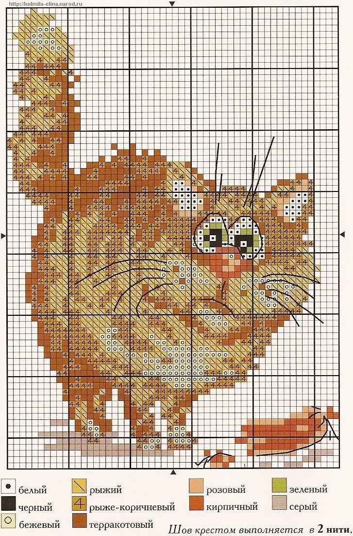 Схема вышивки кот маленький