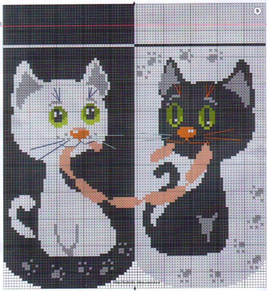 Схема для вышивки крестом черный кот схемы