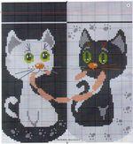 вышивка белый и черный кот с сосисками, схема