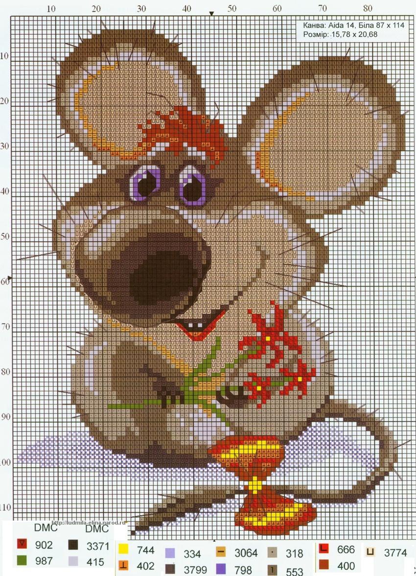 вышивка мышка с цветами, схема.
