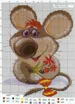 вышивка мышка с цветами, схема