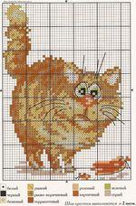 вышивка  толстый рыжий кот, схема