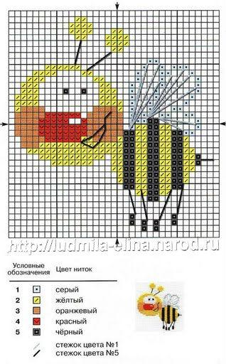 пчела, схема вышивка