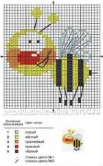 вышивка начинающим, веселая пчела, схема