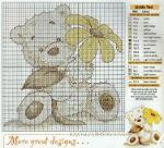 вышивка начинающим, мишка с ромашкой, схема