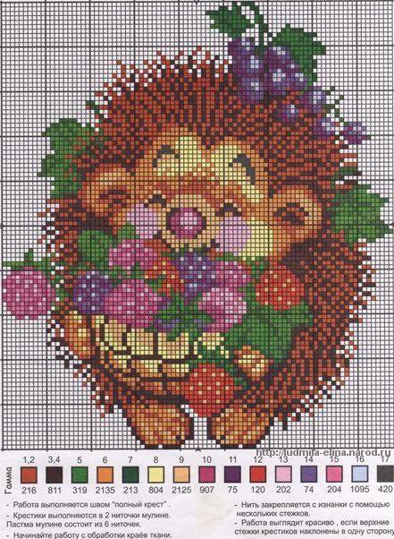 вышивка ежик с цветами, схема