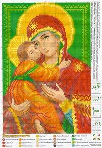 вышивка икона божией матери, схема