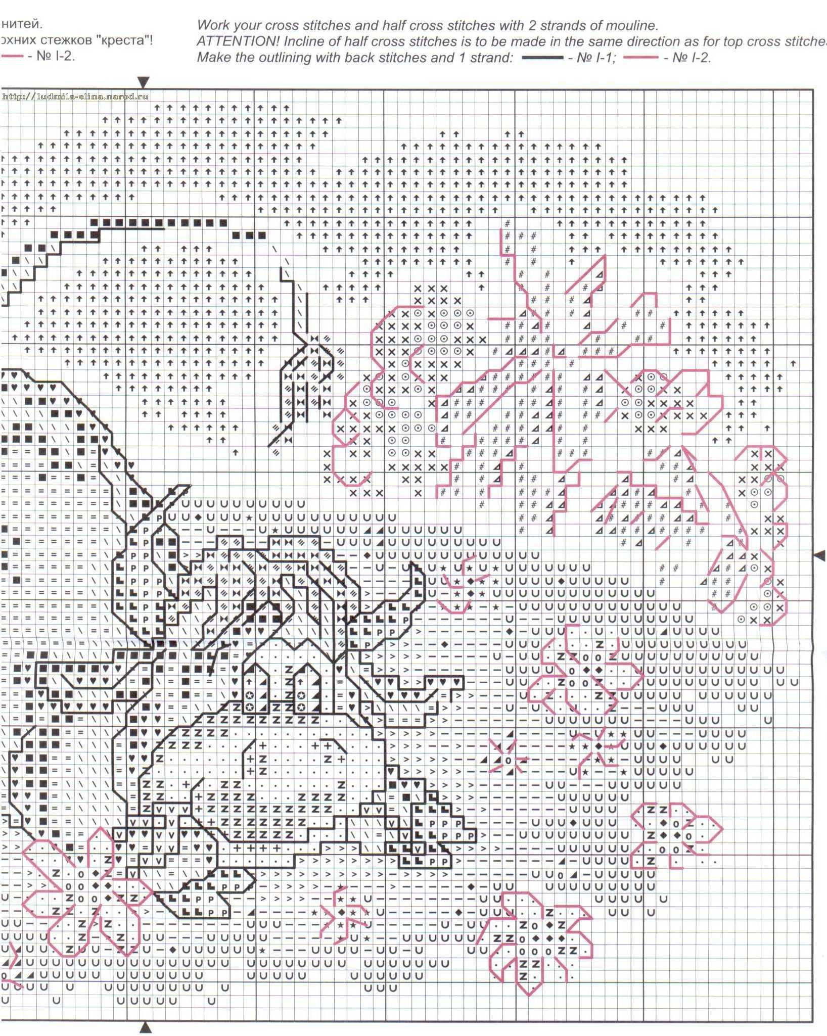 Схема для вышивки крестом бычок