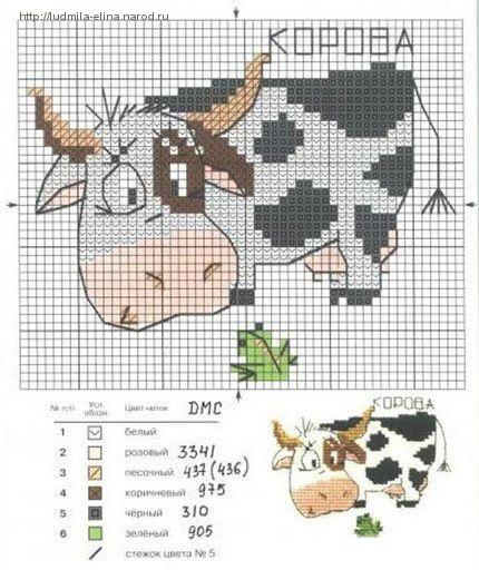 """Вышивка крестиком """"Корова"""